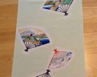 Vintage Mint Green Japanese Chirimen Kimono Fabric with Fan Designs; bulk pieces; cut to order