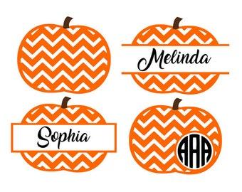 Chevron pumpkin svg, pumpkin monogram svg, pumpkin svg, split pumpkin svg, svg files, cricut, silhouette, instant download