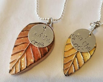 Set of two mommy and me leaf necklaces with handstamped charm