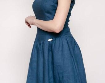 Linen dark blue dress/linen dress/graduation dress/naivy linen dress/casual wedding dress dress/fit and flare dress/going out dress/