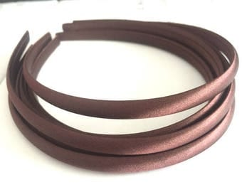 10pieces  coffee satin plastic hair headband covered 10mm wide