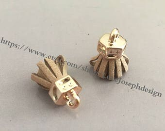 20pieces tan suede leather KC gold caps ear tassel --for length 30mmx20mm(#0192)