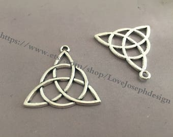 wholesale 100 Pieces /Lot Antique Silver & Bronze Plated 30mmx30mm celtic knot charms (#0448)