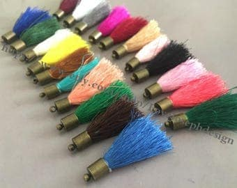 wholesale 100pieces (more than 20colors) 45mm string cotton bronze copper caps ear tassel (#0470)