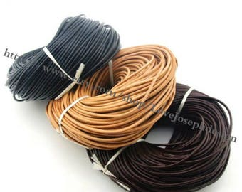 wholesale 100meters 3mm Black & Natural Brown and Brown round genuine/real leather cords(#0489)