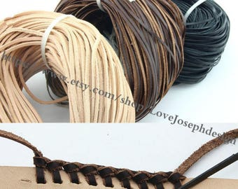 wholesale 100meters 3mmx2mm Black & Natural Brown and Brown flat genuine/real leather cords(#0491)