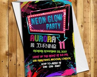 Glow Birthday Invitation, Glow Party Invitation, Glow Invitation, Neon Birthday Invitation, Neon Glow Invitation, Neon Thank You Card | GL_1