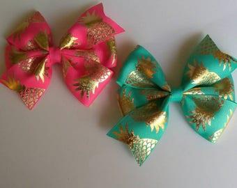 "Pineapple hair bow, party bows, baby hair bows, fruit hair bow, tropical hair bow, pineapple headband, 4"" hair bow, shimmer hair bow"
