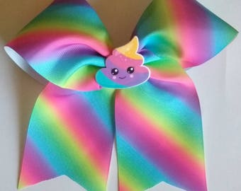 Poop hair bow, Emoji inspired bow, pink hair bow, Ombre cheer bow, baby hair bow, JoJo cheer bow, Rainbow cheer bow, Rainbow poop