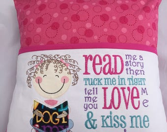 Boys Reading Pillow Embroidery Design