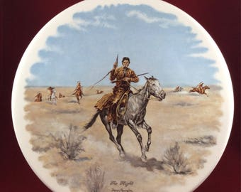 Vintage Frederic Remington Plate ~ The Flight ~ Old Western Decor ~ Collectible Plate~ Rustic Decor