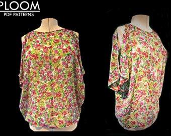 Womans Open Shoulder Top & Dress PDF sewing Pattern. Women's Open Shoulder Top digital pattern, open shoulder shirt womens sewing patterns