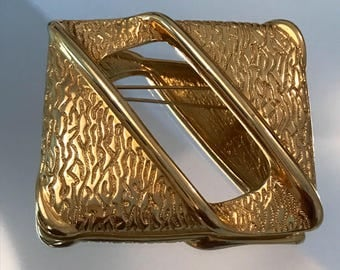 Givenchy 1980s vintage gold tone statement large brooch pin