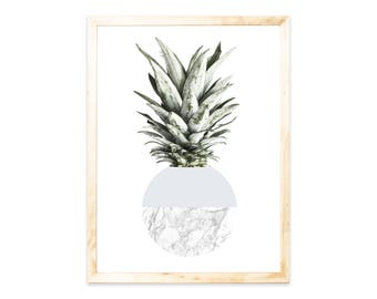 Pineapple, grey, print, poster, marble