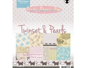 Block of 32 paper 15 x 21 cm MARIANNE DESIGN TWINSET and PEARLS