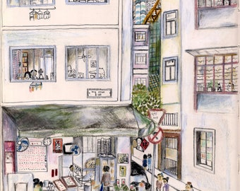 Illustrated postcards - Tai Hang