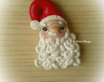 Santa Claus magnet polymer clay charm Christmas tree ornament special miniature gift