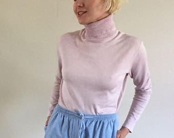 Vintage 90s Pale Pink Silk Knit Turtleneck