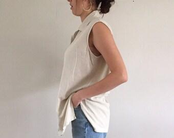 Vintage 90s Minimal Oatmeal 100% Raw Silk Sleeveless Blouse / Minimalist Silk Tunic | L XL