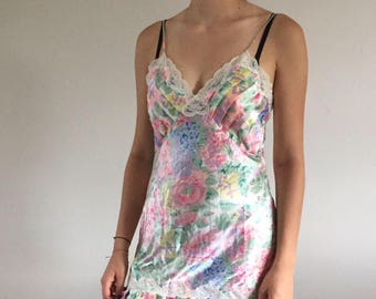Vintage 90s Victoria's Secret Floral Silky Pleated Slip / Slip Dress | M