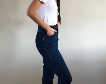 90s Jordache High Waisted Tapered Dark Wash Jeans | 25W