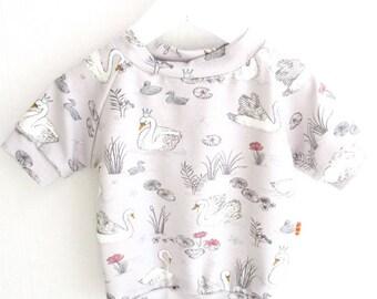 Shirt short-sleeved swans ducks grasses