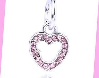 Mickey Rhinestone Charm, Disney Charm, Mickey Mouse Charm, Mickey Mouse Heart Rhinestone, Diy jewelry supply, Pink Minnie Mouse Charm