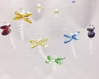 Set of 3 Suncatcher Crystal Dragonfly