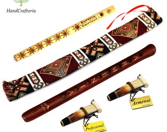 Professional DUDUK PACK Key A Armenian Oboe Balaban Woodwind Instrument Apricot Wood - free Gift Armenian flute with Playing Instruction