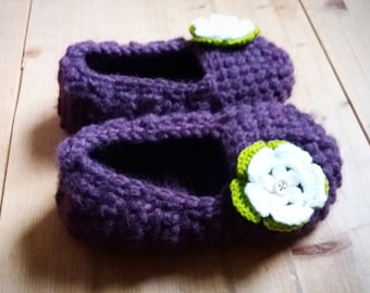 Women Crochet Purple Slippers / ballerinas - Size 7-8
