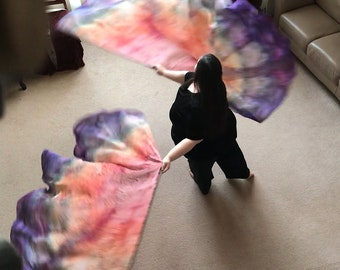 Prophetic - Silk Flag - Worship Flag - Praise Dance - Dyed Silk - Single XL Bendie Wing (5mm) called Long-Awaited Promises