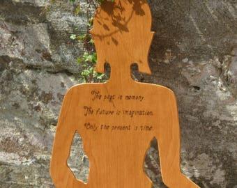 Hand Finished Birch Wood Buddha Shaped Time Wall Hanging