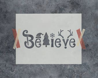"""Believe Christmas Stencil - Holiday Word Stencil """"Believe"""" with Santa Hat, Christmas Tree, Snowflake, and Rudolph Reindeer Antlers Stencil"""
