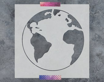 Earth Stencil - Reusable DIY Craft Stencils of the Planet Earth Globe