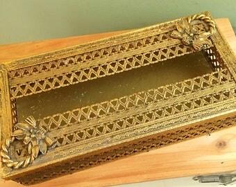 Vintage gold  Filigree Tissue Box Holder, Hollywood regency decor, shabby bathroom decor