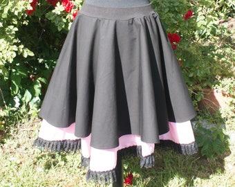 Gothic Lolita skirt with lace hem