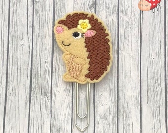 Girl Hedgehog planner clip, paperclip, embroidered, office supplies, felt, study, gift, organiser supplies, journal, bookmark