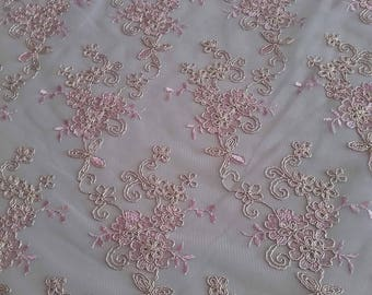 Lace Fabric/Pink  Gold Corded Lace Fabric