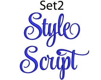 Style Script Embroidery Font 5 Size  Font Machine Embroidery Font Instant Download 9 Formats Embroidery Pattern PES and BX