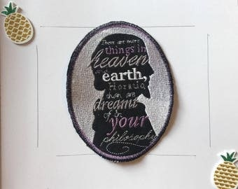 shakespeare quote patch, hamlet quote patch, iron on horatio, hamlet there are, iron on Horatio, Bard Horatio patch, shakespeare hamlet,