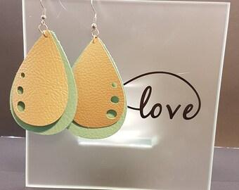 Aqua Leather and tan faux leather drop earrings.