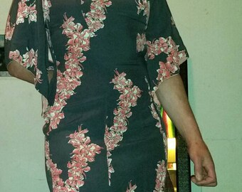 1940s authentic original vintage Hawaiian Togs charcoal gray and salmon pink orchid print Hawaiian Pake Muu rayon dress size 6-8 great cond!