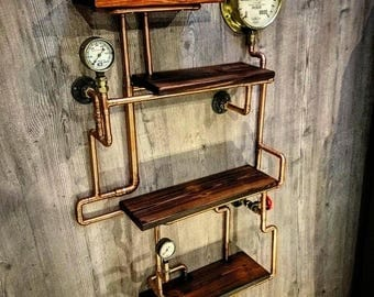 Retro Industrial Rustic Hardwood Shelves   Steampunk Wall Art