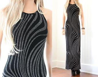90s Stretchy Dress 90s Grunge Dress Black Maxi Dress Goth 90s Dress Vintage Dress 90s Clothing Long Dress Vintage Long Black Dress XS