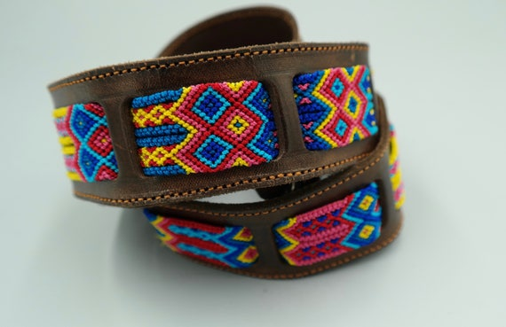 Woven Macrame Leather Belt SZ 36