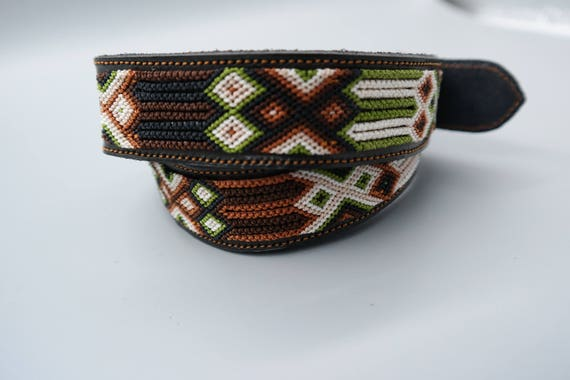 Woven Macrame Leather Belt SZ 36(L)