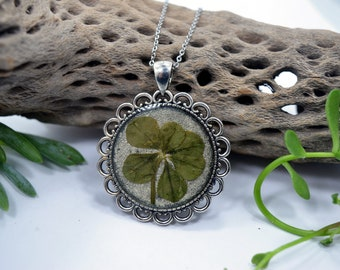 Genuine 6 Leaf Clover Necklace [AC 019] / Stainless Steel Chain / Lucky White Clover Pendant / Triforium Repens Gift / Good Luck