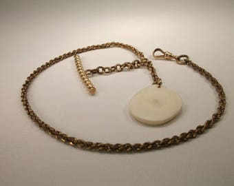 Beautiful Antique JHS & Sons 12kt Gold Filled Pocket Watch Chain With Bone Fob Heavy