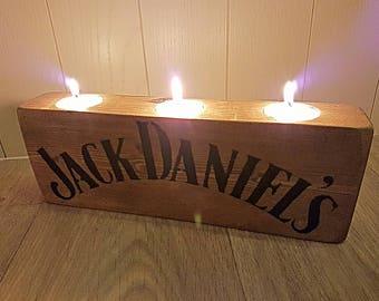 Jack Daniels- Jack Daniel's -  Rustic Tealight Holder -  Candle Holder