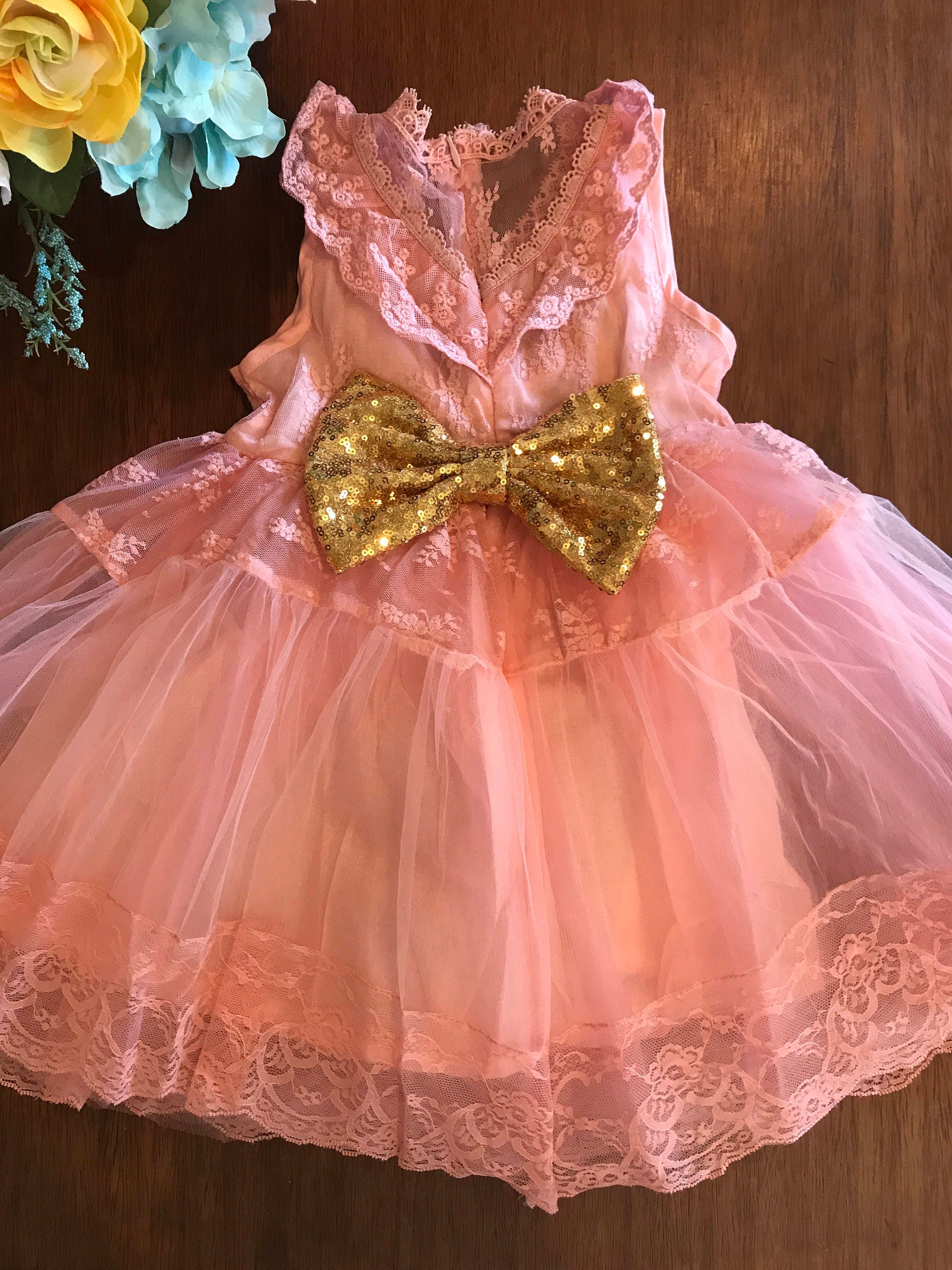 Posh Sweet Pink Lace And Girls Dress Flower Girl First Birthday